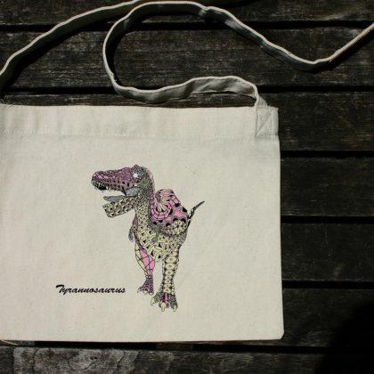斜め掛けバッグ(サコッシュ) ティラノサウルス ピンク