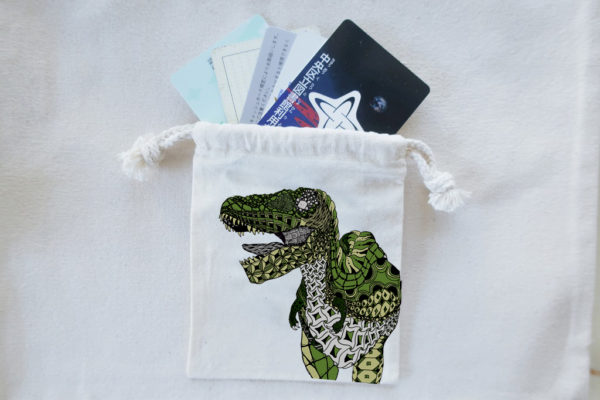 恐竜巾着ティラノサウルスグリーン