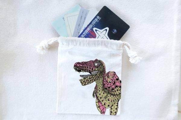 恐竜巾着 ティラノサウルスピンク