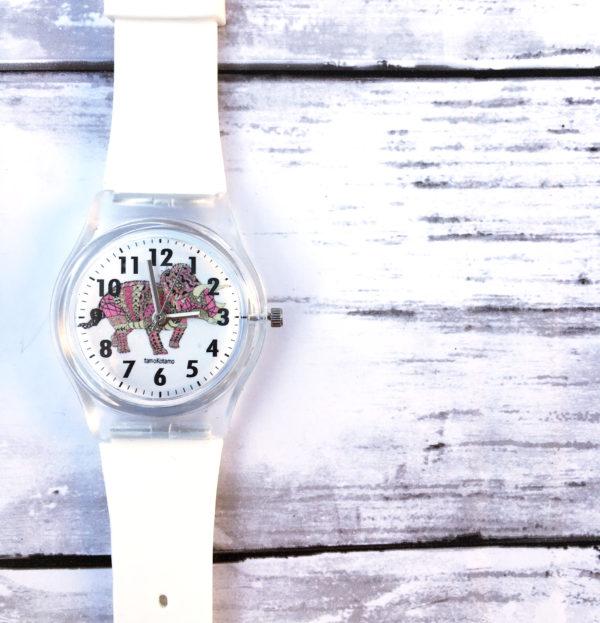 トリケラトプス 恐竜腕時計 ピンク