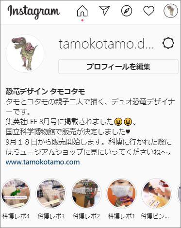 恐竜デザイン タモコタモのインスタ