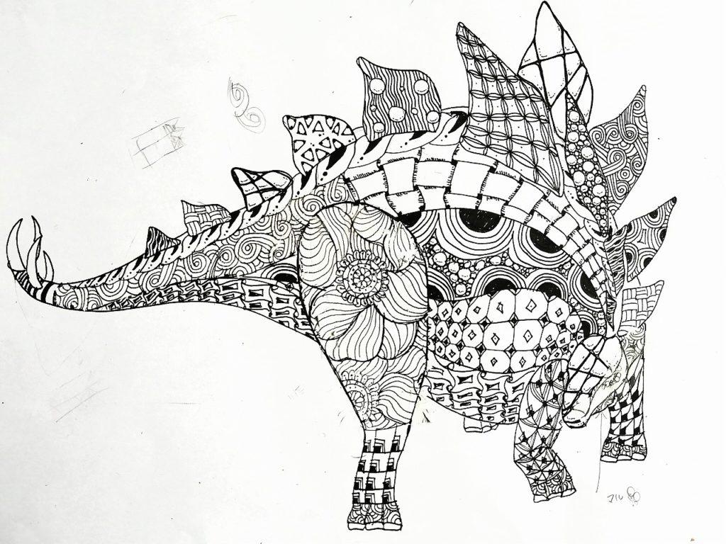 恐竜イラスト制作風景ステゴサウルス