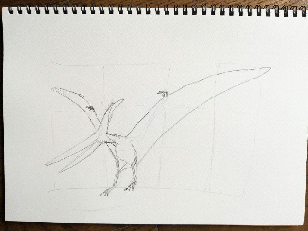 恐竜イラスト制作風景プテラノドン