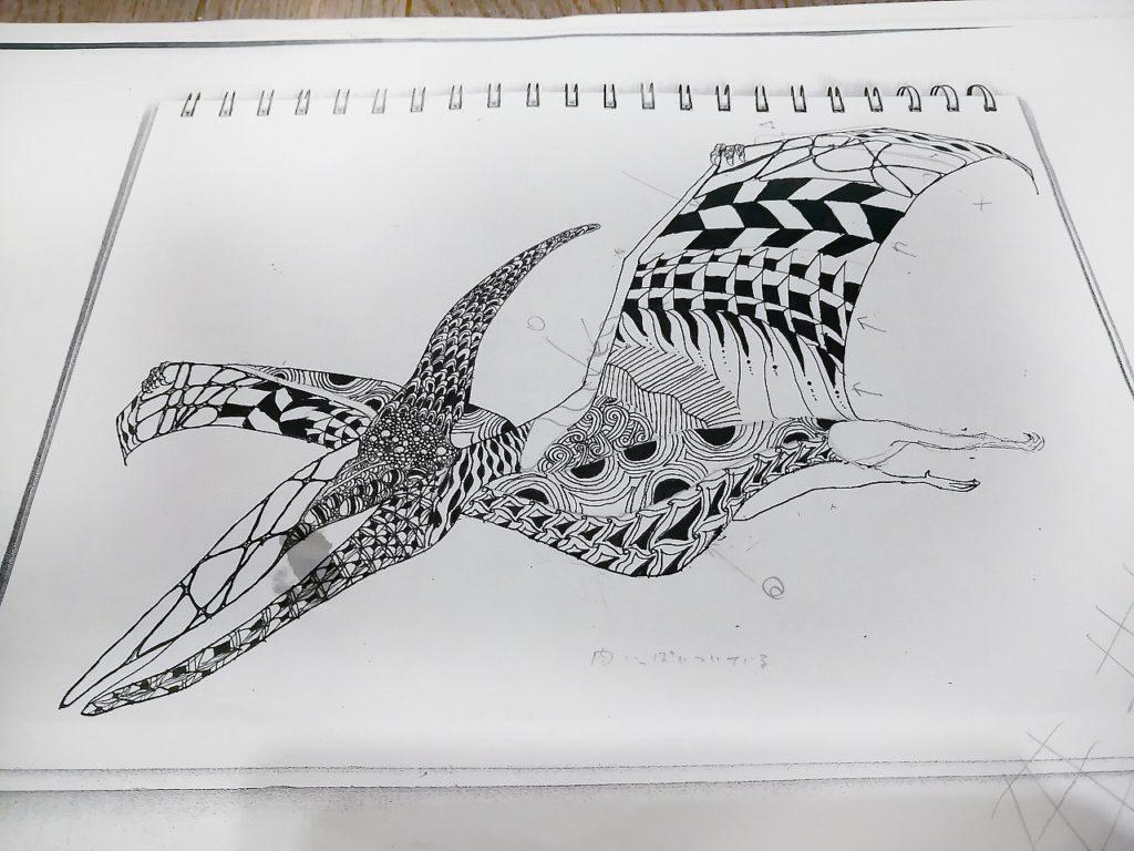 恐竜プテラノドン翼竜のイラストの描き方